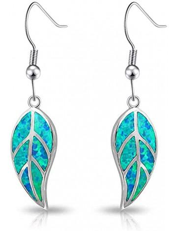 CiNily Opal Leaf Dangle Earrings