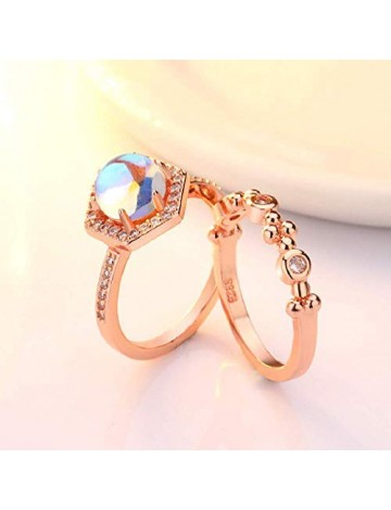 Finemall Faux Moonstone Engagement Ring