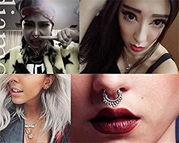 HONBAY 20pcs Fake Septum Clicker Nose Ring Rhinestone2