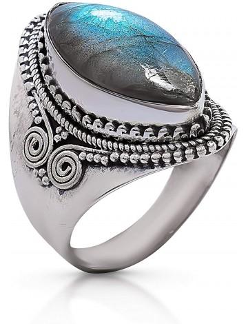 Koral Jewelry Labradorite Vintage Gipsy Ring