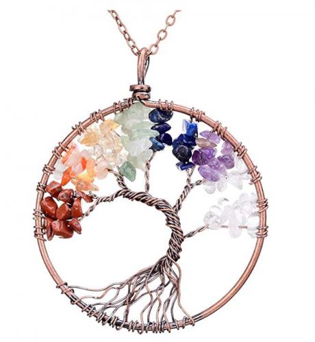 sedmart Amethyst Rose Crystal Tree of Life Necklace