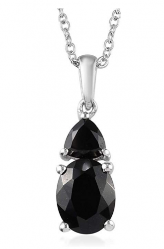 Shop LC Black Tourmaline Onyx 925 Sterling Silver Necklace