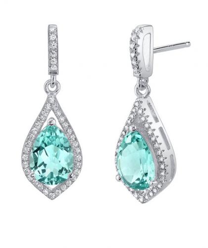Ruby & Oscar Tourmaline & CZ Paraiba Tear Drop Earrings