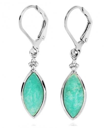 BillyTheTree Gemstone Jewelry Amazonite Lobster Clasp Earrings