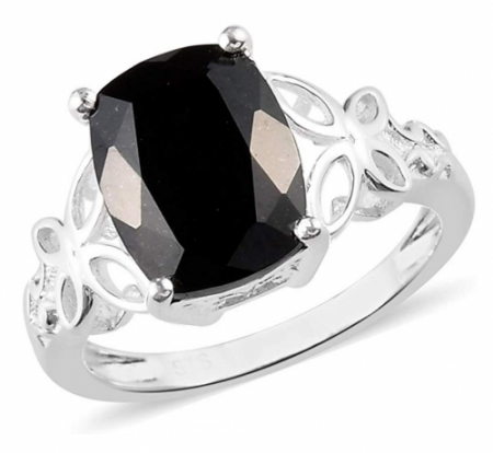 Shop LC 925 Sterling Silver Black Tourmaline Engagement Ring