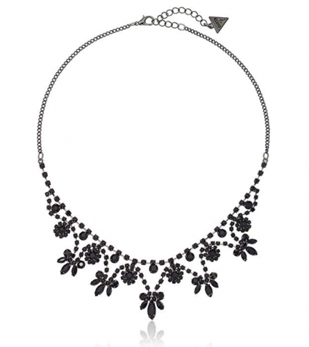 """GUESS """"Basic"""" Jet Dainty Floral Necklace"""