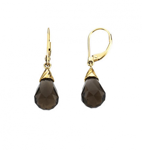 The Black Bow Jewelry Co. Briolette Smoky Quartz Lever Back Earrings