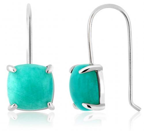 Gem Stone King 925 Sterling Silver Amazonite Earrings