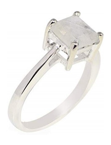 Shine Jewel Princess Cut Rainbow Moonstone Ring