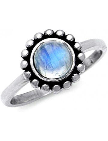 Silvershake Flower Moonstone Engagement Ring