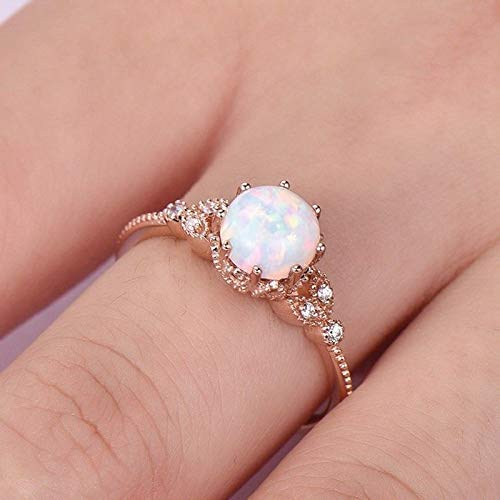 T-Jewelry Rose Gold Silver Moonstone Engagement Ring Hand