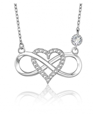 BlingGem Diamond Heart Infinity Necklace