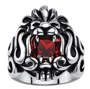 Seta Jewelry Garnet Tribal Lion Ring