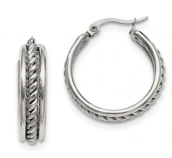 Black Bow Jewelry Co. Middle Round Men's Hoop Earrings