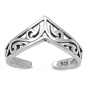 Sac Silver Chevron Filigree Toe Ring