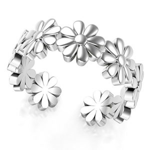 Metal Factory Sterling Silver Daisy Flower Toe Band