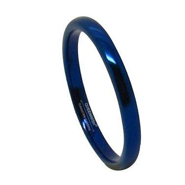 Queenwish 2mm Blue Tungsten Ring