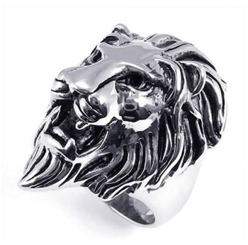 SilverCloseOut Stainless Steel Royal Lion Ring