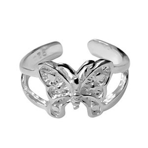 925 Designs Sterling Silver Butterfly Toe Ring
