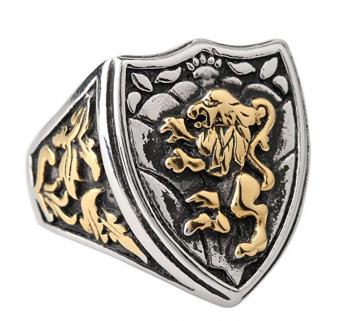Zovivi Silver Gothic Lion Shield Ring