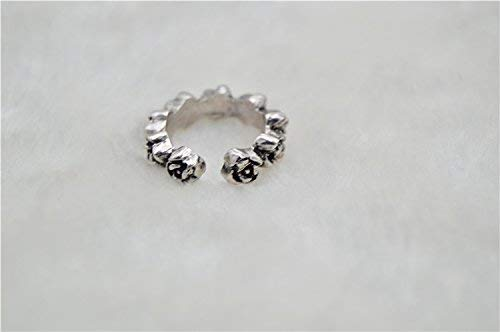 HEYUAN FASHION Sterling Silver Plated Vintage Rose Foot Open Ring COllection