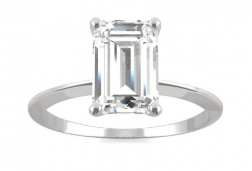 Charles & Colvard Solitaire Emerald Colorless Moissanite Ring
