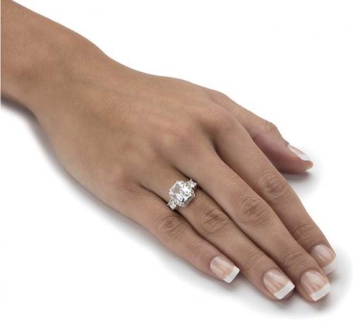 Palm Beach Jewelry Created White Sapphire 3 Stone Ring