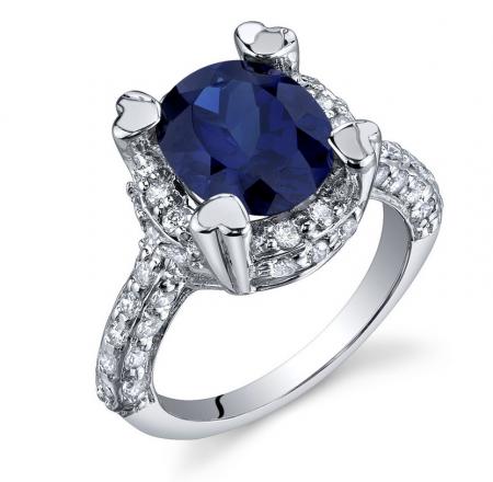 Ruby & Oscar Sapphire & CZ Engagement Ring