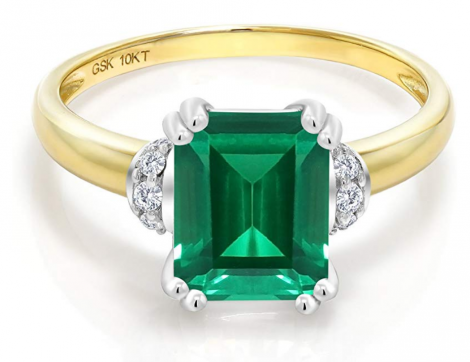 Gem Stone King Simulated Emerald & Diamond Accent Ring