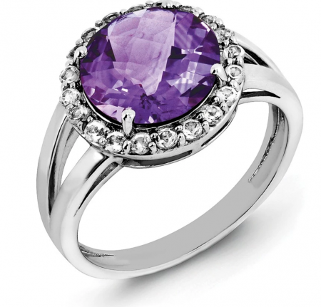 Black Bow Jewelry Co. Amethyst & White Topaz Halo Ring