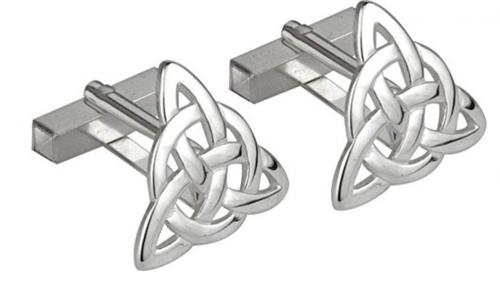 Tara Trinity Knot Cufflinks with Rhodium Plating - Made in Ireland