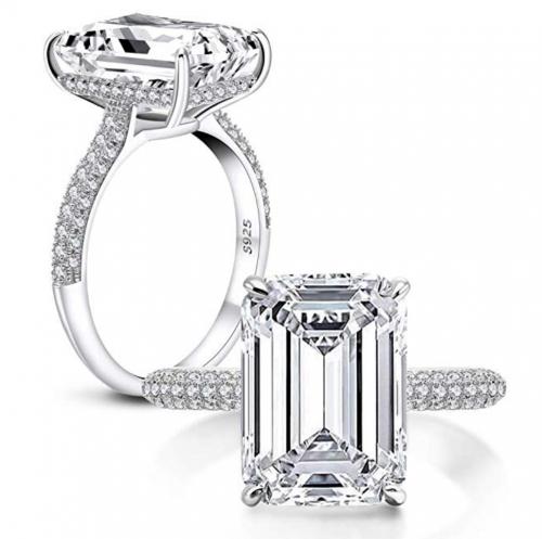 AINUOSHI 6 Carats Cubic Zirconia Rhodium Plated Diamond Wedding Ring