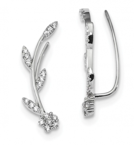 Black Bow Jewelry Co. Flower Ear Climber Earrings with Rhodium Plating
