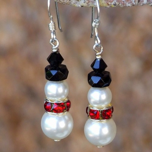 Body Candy Handcrafted Snowman Earrings Created with Swarovski Crystals