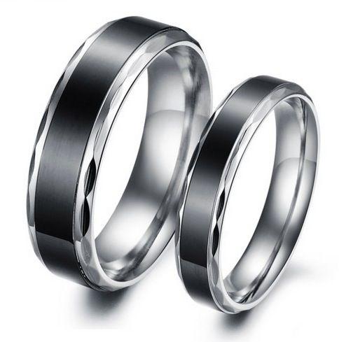 Jeulia Cool Black Titanium Steel Couple Rings