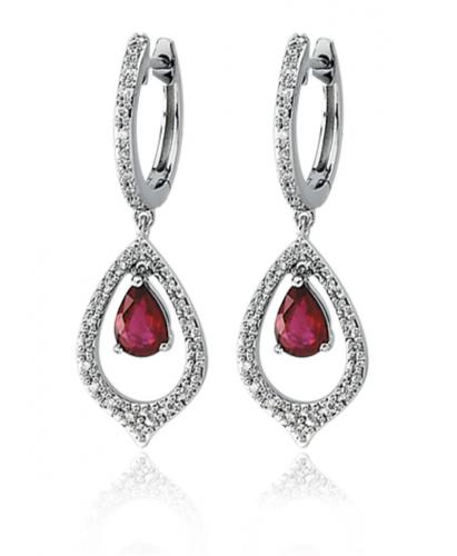 Black Bow Jewelry & Co. White Gold Ruby & Diamond Earrings