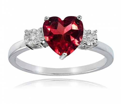 Ice Gems Sterling Ruby Red and Heart Ring
