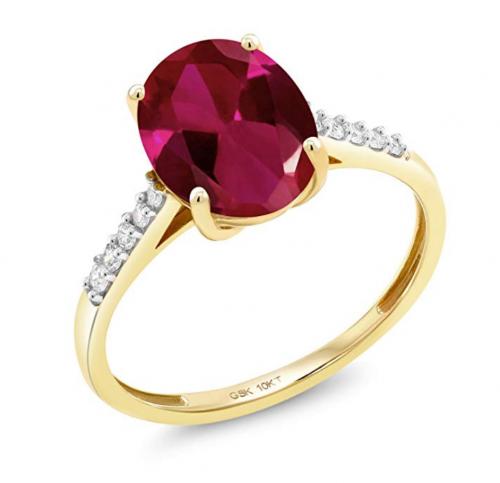 Gem Stone King Created Ruby & White Diamond Engagement Ring