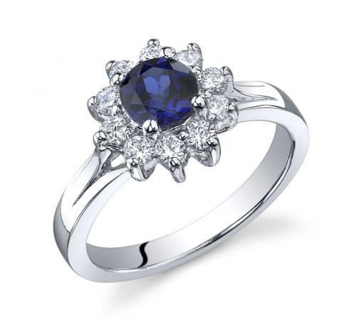 Ruby & Oscar Sapphire & CZ Ornate Floral Ring