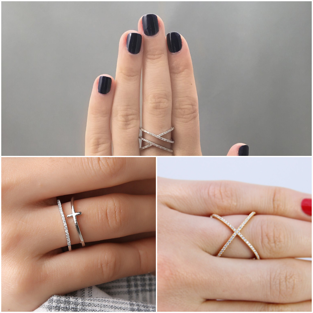 gold and silver cross ring selection