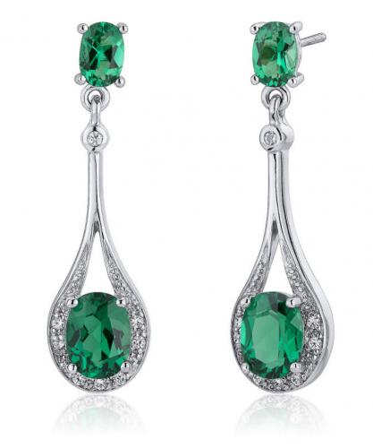 Ruby & Oscar Emerald & CZ Drop Earrings