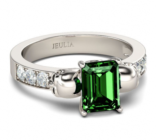 Jeulia Two Skull Emerald Cut Sterling Silver Ring