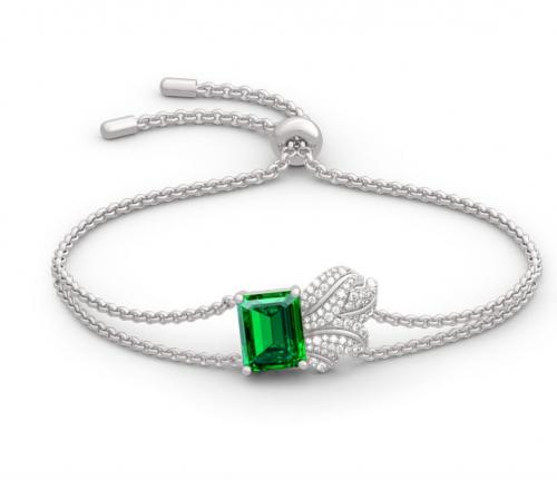 Jeulia Leaf Design Emerald Cut Bracelet