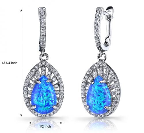 BLUE OPAL & CZ NEBULA DROP EARRINGS IN STERLING SILVER size