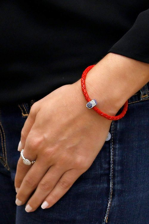 Braided Leather Evil Eye Bracelet on Hand