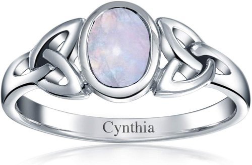Celtic Trinity Knot Triquetra Rainbow Moonstone Ring Collection