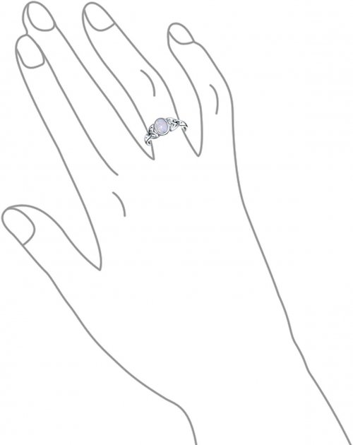 Celtic Trinity Knot Triquetra Rainbow Moonstone Ring Hand