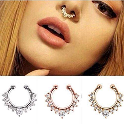 CosCosX 3 Pcs Nose Ring Septum Piercing Jewelry,Cubic Zircon Fake Septum Model