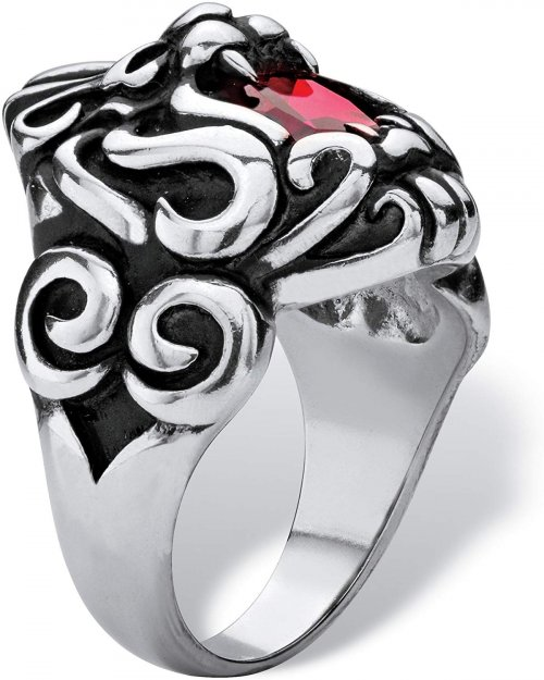 Cut Red Cubic Zirconia Lion's Head Ring