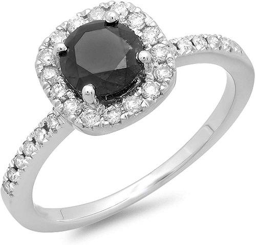 Dazzlingrock Collection 1.15ct Round Black Diamond Ring